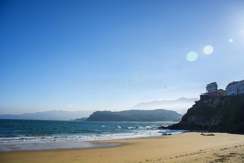 Asturian landscape 136. Photo of a landscape with blue sky, sea and sunlight royalty free stock image