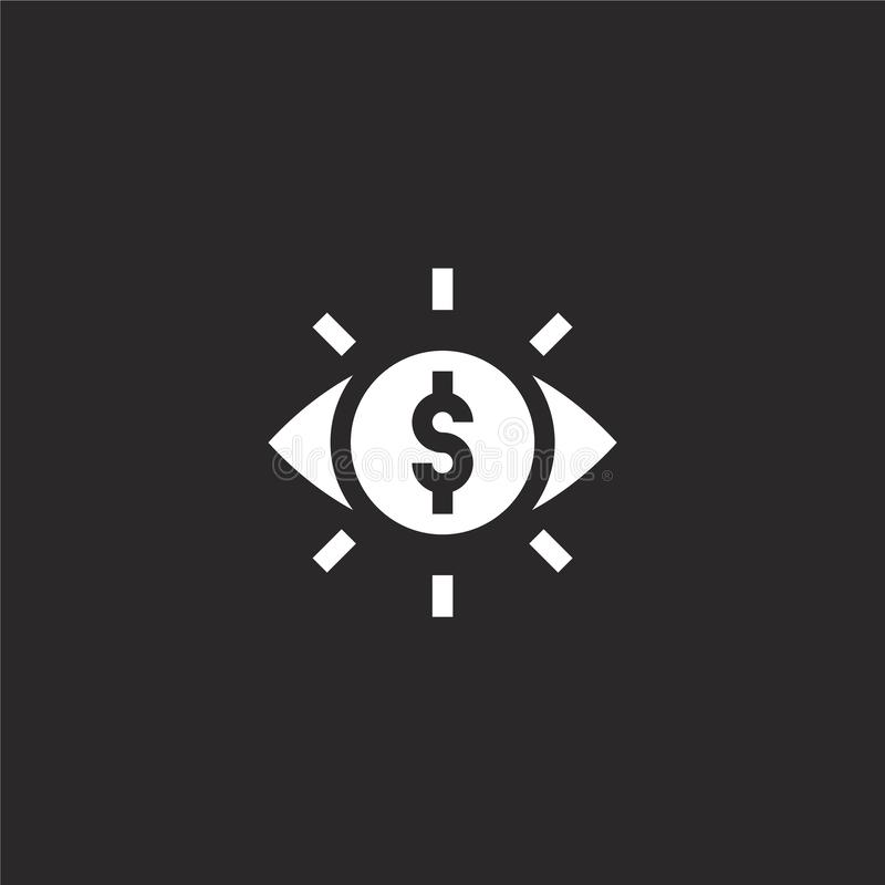 Astute icon. Filled astute icon for website design and mobile, app development. astute icon from filled money collection isolated. On black background vector illustration