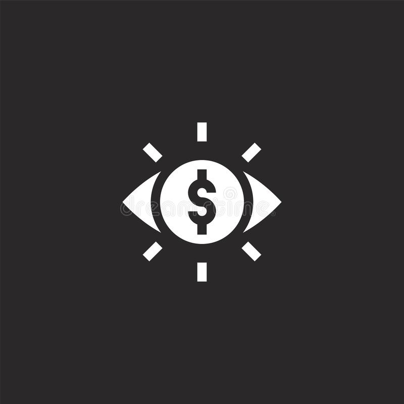Astute icon. Filled astute icon for website design and mobile, app development. astute icon from filled money collection isolated. On black background royalty free illustration