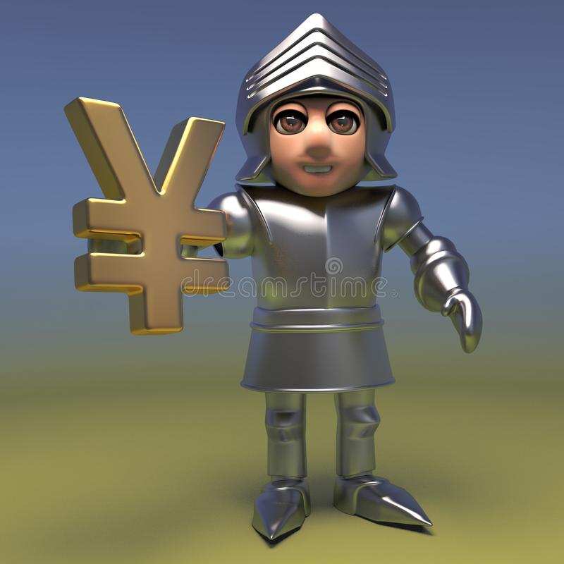 Astute medieval knight invests in the Japanese Yen, 3d illustration. Render royalty free illustration
