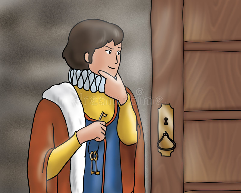 Astute prince - Fairy tales. The astute prince holding some keys near an ancient door. Digital illustration for Grimms fairy tale Rumpelstiltskin royalty free illustration