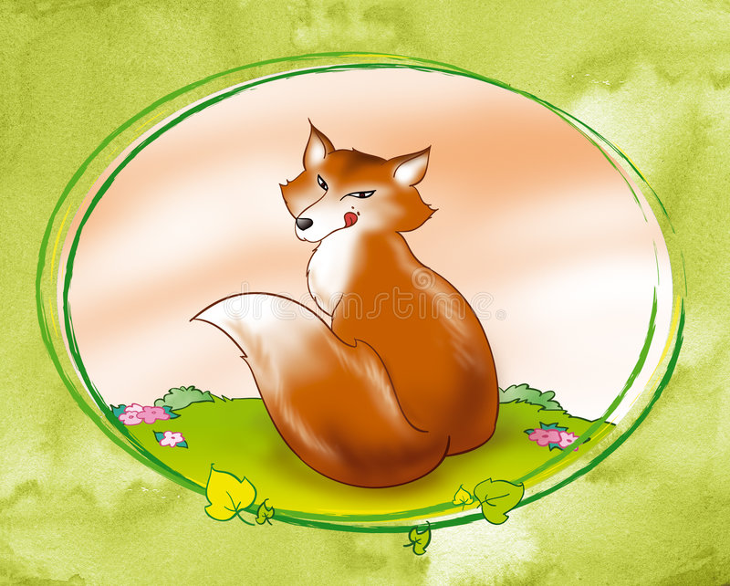 Astute red fox - digital illustration. A red fox smacking his lips. Digital illustration with green oval decoration for the gingerbread boy tale vector illustration