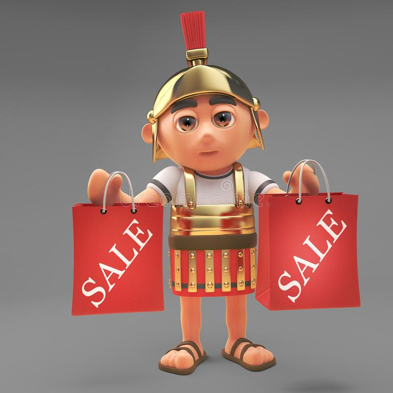 Astute Roman centurion soldier has been shopping at the sales, 3d illustration. Render stock illustration