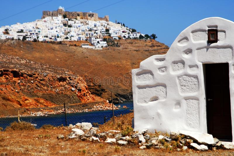 Astypalaia, Astypalaia island, Dodecanese islands, Greece. Country church of the town of Livadi, Astypalaia island, Dodecanese islands, Greece royalty free stock image