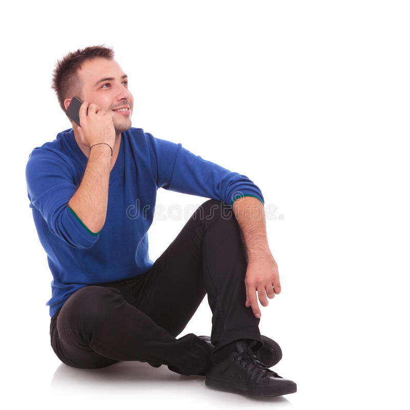 Asual man talking on the phone stock photos