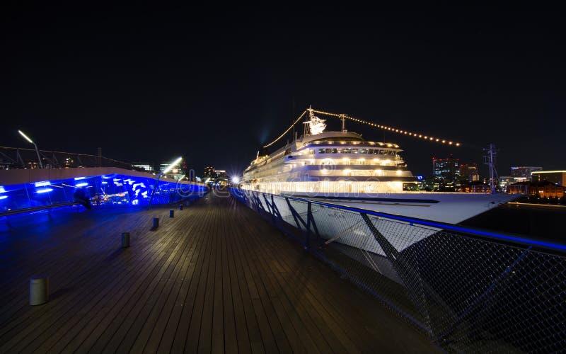 The Asuka II was moored at a pier in Yokohama harbor royalty free stock photos