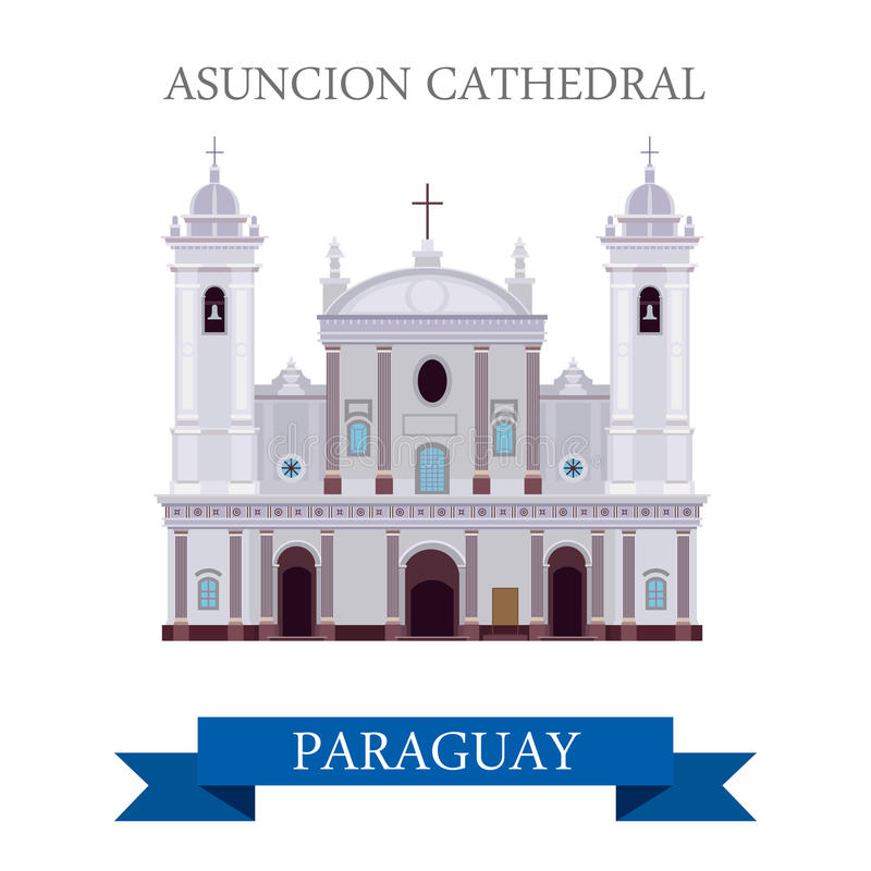 Asuncion Cathedral in Paraguay vector flat attraction landmarks stock illustration
