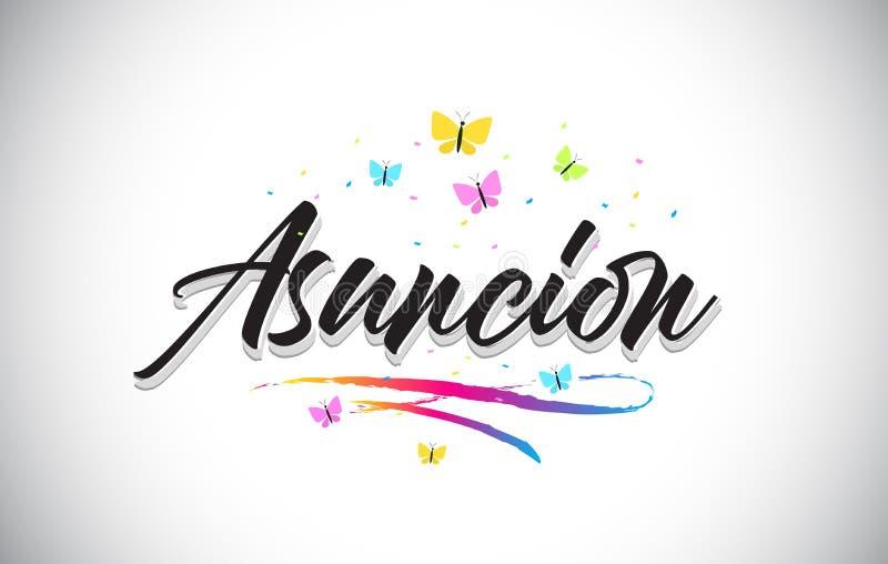 Asuncion Handwritten Vector Word Text con le farfalle e variopinto mormorano illustrazione di stock