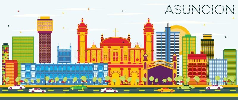Asuncion Paraguay City Skyline met Kleurengebouwen en Blauwe Hemel royalty-vrije illustratie