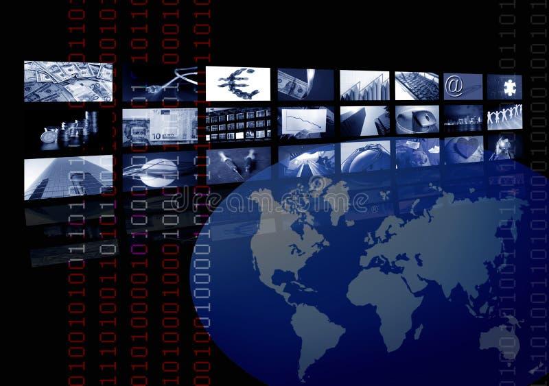 Asunto corporativo, correspondencia de mundo, pantalla múltiple stock de ilustración
