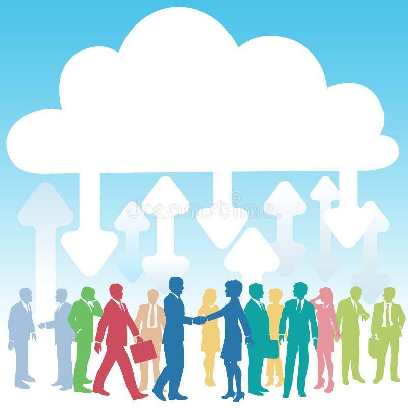 Asunto de la gente de la compañía ÉL computación de la nube stock de ilustración