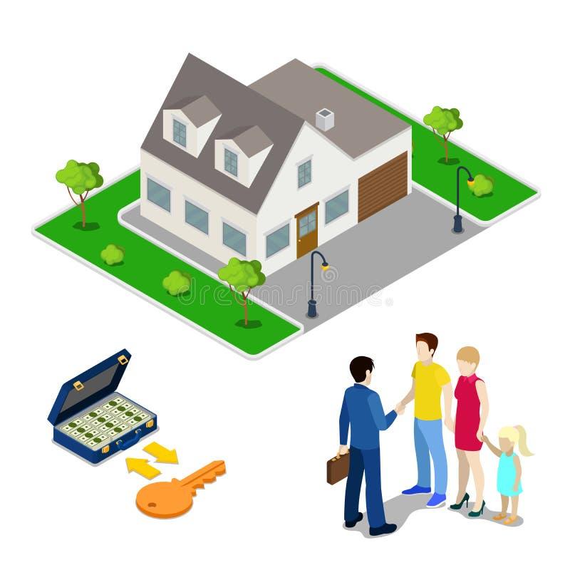 Asunto de las propiedades inmobiliarias Agente Selling House del agente a la familia joven Gente isométrica libre illustration
