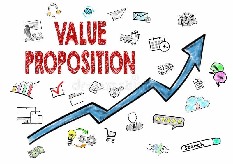Asunto del valor, concepto del negocio Iconos en el fondo blanco ilustración del vector