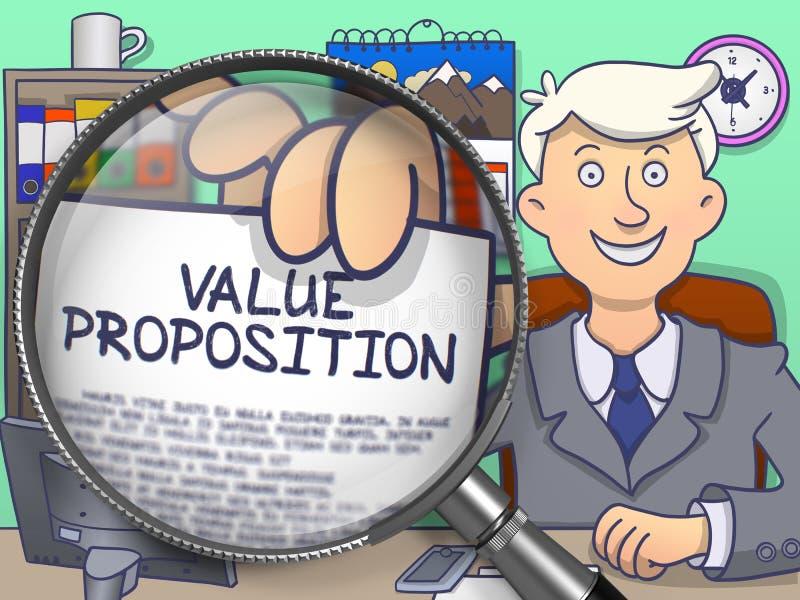 Asunto del valor a través de la lente Diseño del garabato stock de ilustración