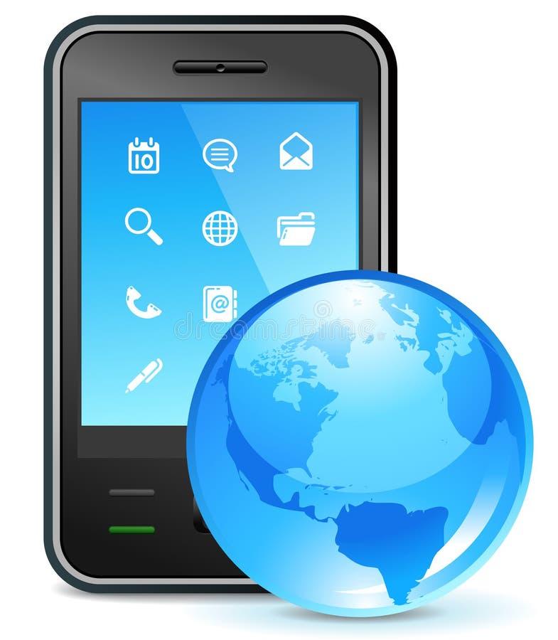 Asunto global en el teléfono stock de ilustración