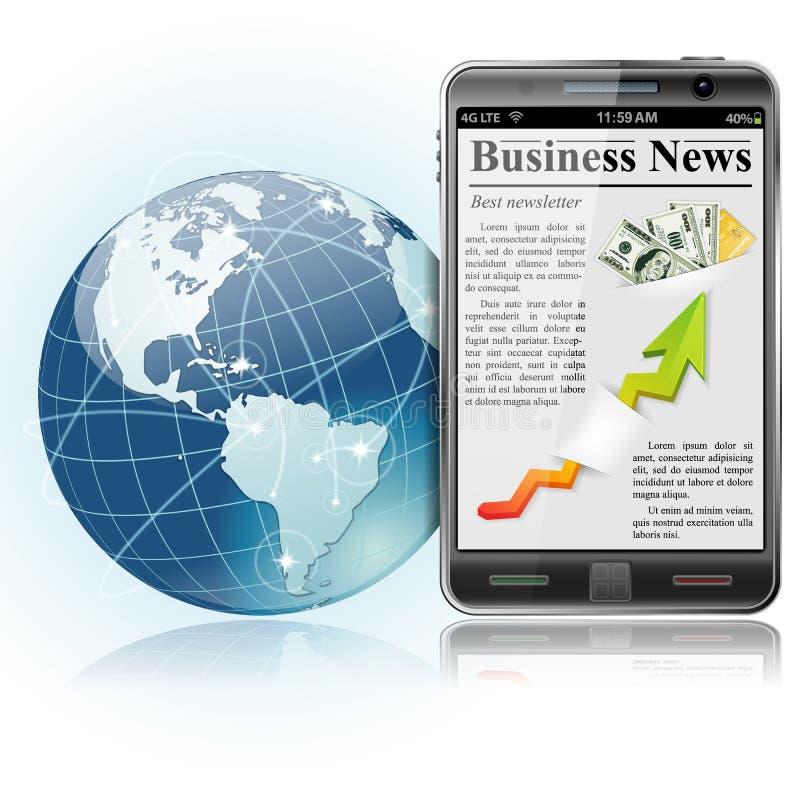 Asunto global. Noticias en el teléfono elegante stock de ilustración