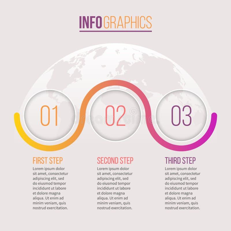 Asunto Infographics Cronología con 3 pasos, círculos Modelo del vector ilustración del vector