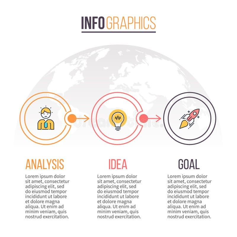 Asunto Infographics Cronología con 3 pasos Modelo del vector ilustración del vector