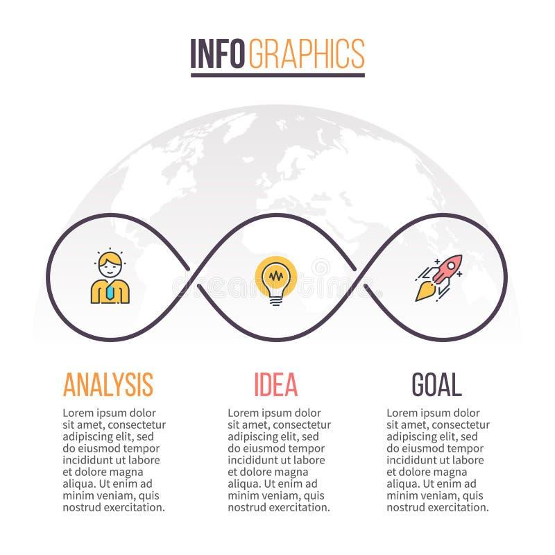 Asunto Infographics Cronología con 3 pasos Modelo del vector stock de ilustración