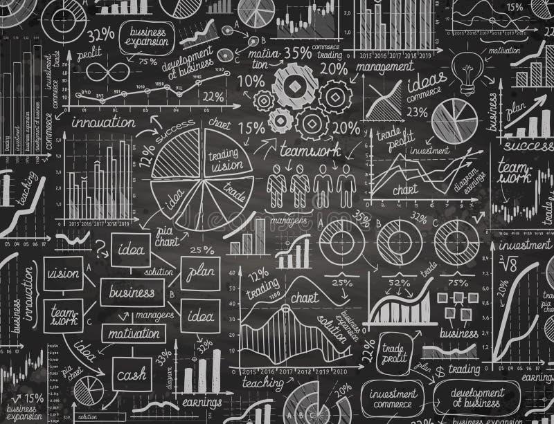 Asunto Infographics dé los gráficos exhaustos con tiza en el tablero negro Ilustración del vector libre illustration