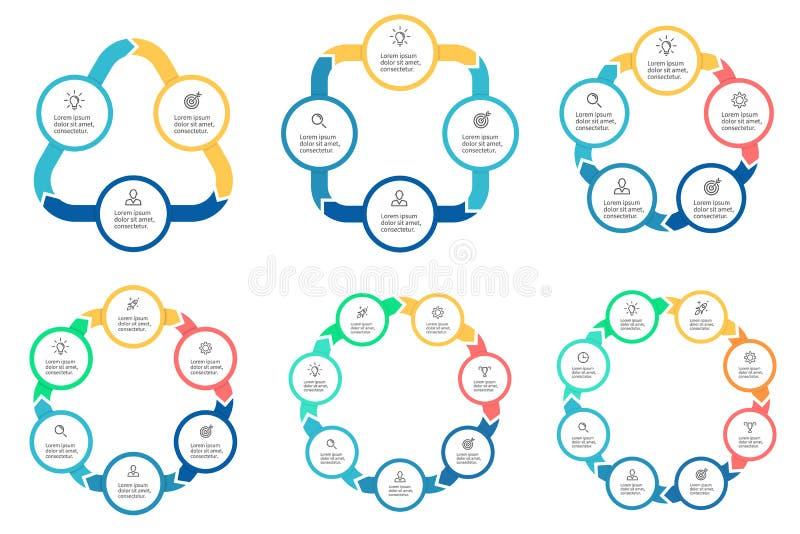 Asunto Infographics Diagramas con 3 - 8 porciones stock de ilustración