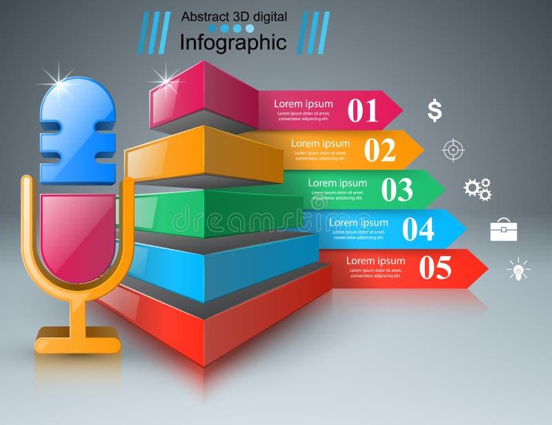 Asunto Infographics Icono del micrófono ilustración del vector