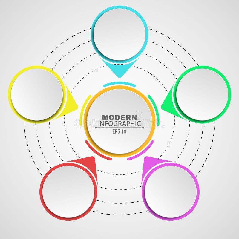Asunto Infographics Un diagrama en un fondo blanco para sus proyectos Muestras y banderas multicoloras Pasos, la trayectoria al s ilustración del vector