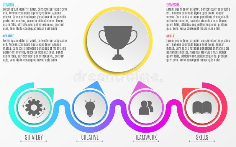 Asunto Infographics Un diagrama moderno, abstracto en un estilo plano de los círculos realistas de papel y líneas Pasos de progre ilustración del vector