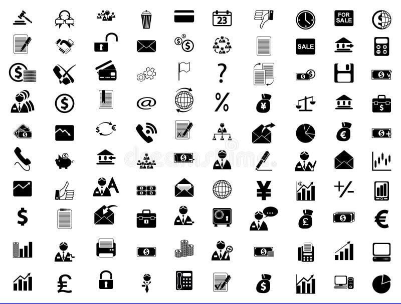 Asunto, oficina y finanzas de los iconos ilustración del vector