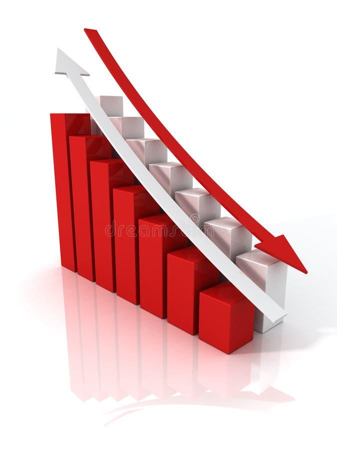 Asunto para arriba abajo del gráfico de las flechas ilustración del vector