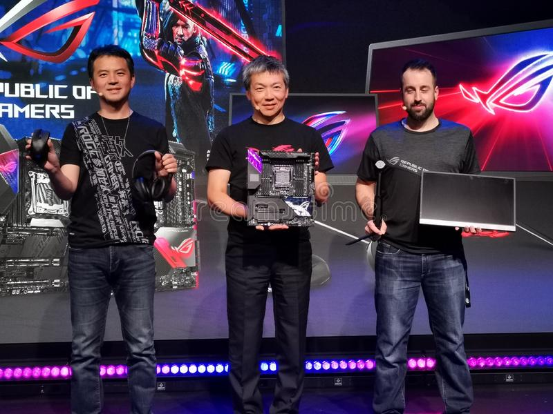 Asus Republic of Gamers product line presentation royalty free stock photo