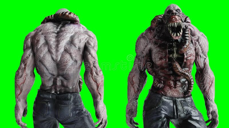 Asustadizo, monstruo del horror Concepto del miedo pantalla verde, aislante representación 3d stock de ilustración
