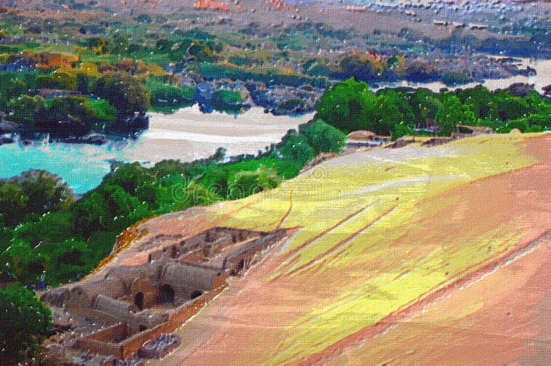 aswan αρχική ζωγραφική πετρελ απεικόνιση αποθεμάτων
