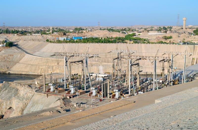aswan egypt vattenkraftstation arkivfoton