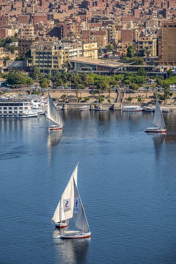 12 11 2018 Aswan, Egypten, en fartygfeluccasegling längs en flodNilen på en solig dag mot arkivbild