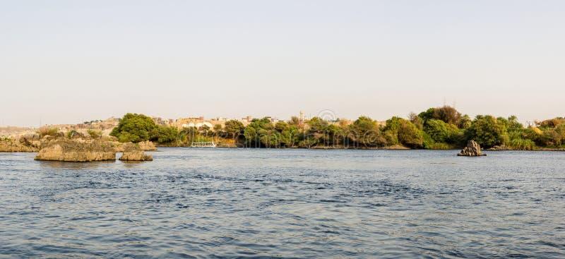 Aswan Nile Panorama arkivfoton
