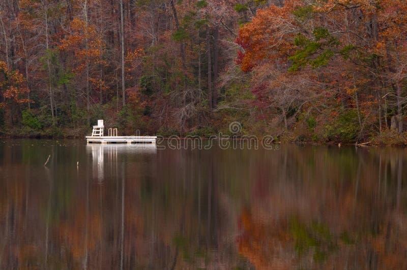 Asyl sjö på den Paris bergdelstatsparken, Greenville, South Carolina i höst arkivfoton