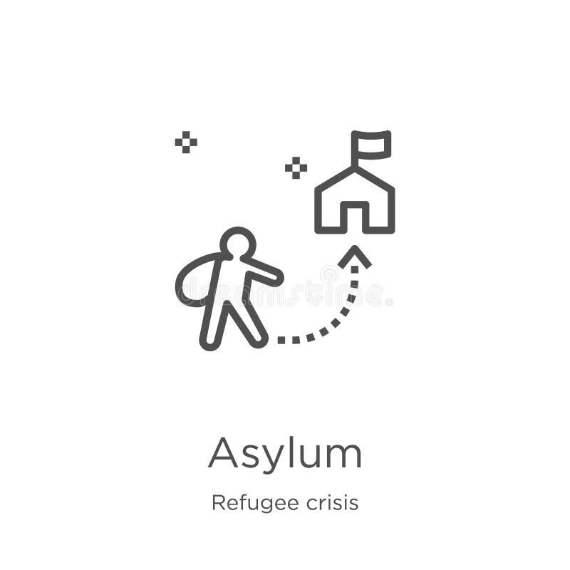 asylsymbolsvektor från flyktingkrissamling Tunn linje illustration för vektor för asylöversiktssymbol Översikt tunn linje asyl stock illustrationer