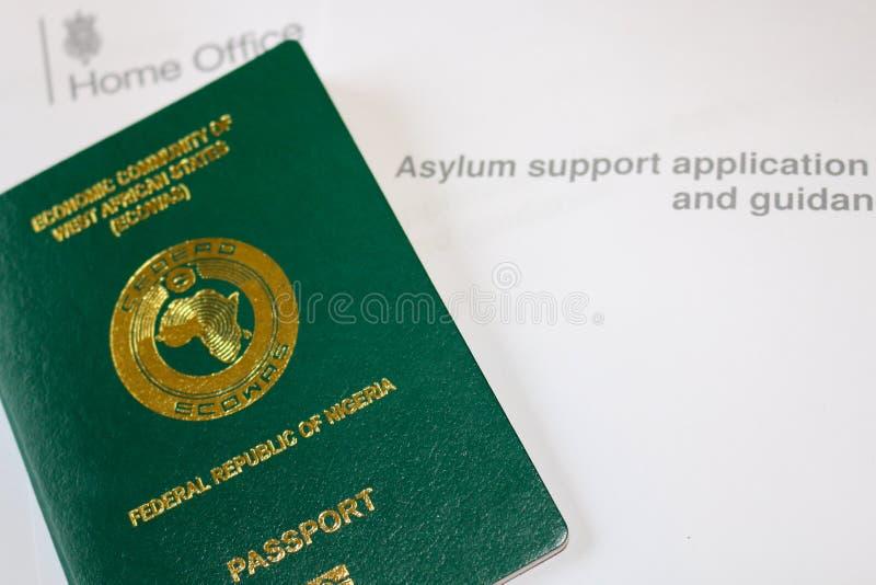 Asylum. Nigerian Passport on Asylum application form stock image