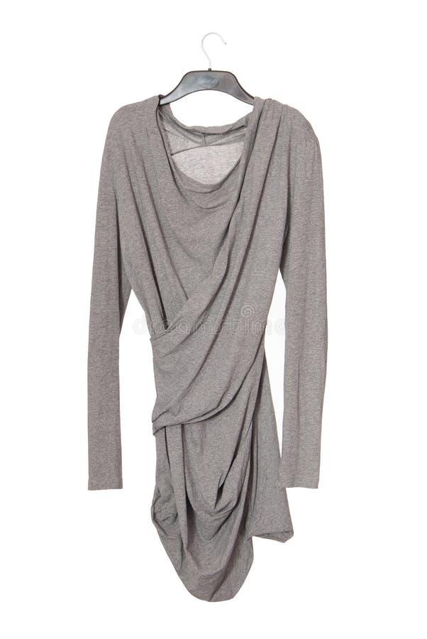 Asymmetric grey blouse stock photo