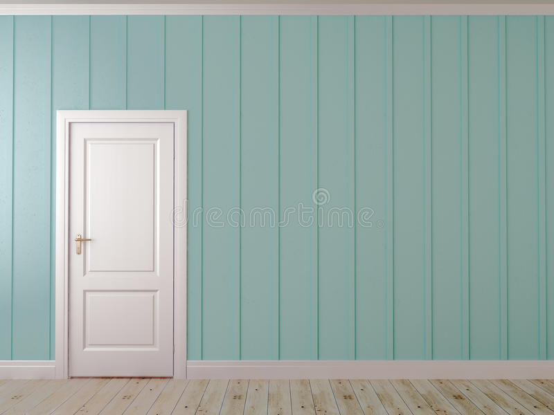 Blue wall with a door. Asymmetrical composition with white door on the blue wall with vertical decor stock photo