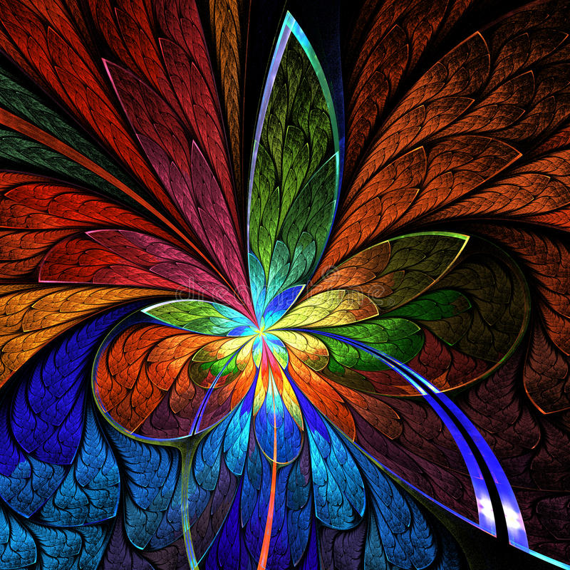 Asymmetrical fractal flower in stained-glass window style. You c stock photography