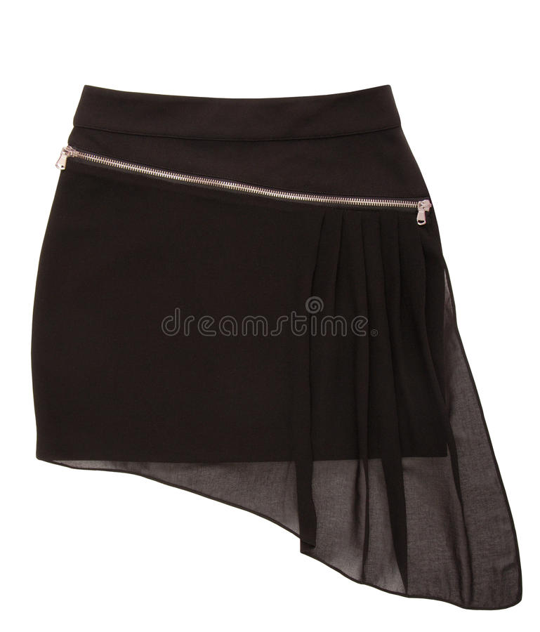 Asymmetrical mini skirt with zipper stock images