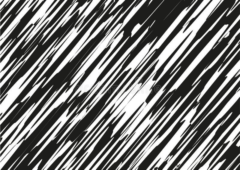 Asymmetrical tekstura z przypadkowymi chaotycznymi liniami, abstrakcjonistyczny geometryczny wzór Czarny i biały wektorowego Grun royalty ilustracja