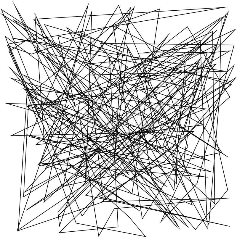 Asymmetrical tekstura z przypadkowymi chaotycznymi liniami, abstrakcjonistyczny geometryczny wzór Czarny i biały wektorowego ilus royalty ilustracja