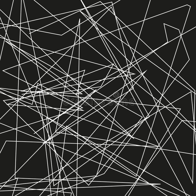 Asymmetrical texture with random chaotic lines, abstract geometric pattern. Abstract web, a tangled mesh. Vector illustration. Asymmetrical texture with random royalty free illustration