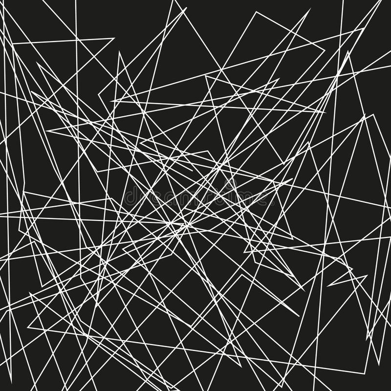 Asymmetrical texture with random chaotic lines, abstract geometric pattern. Abstract web, a tangled mesh. Vector illustration. Asymmetrical texture with random stock illustration
