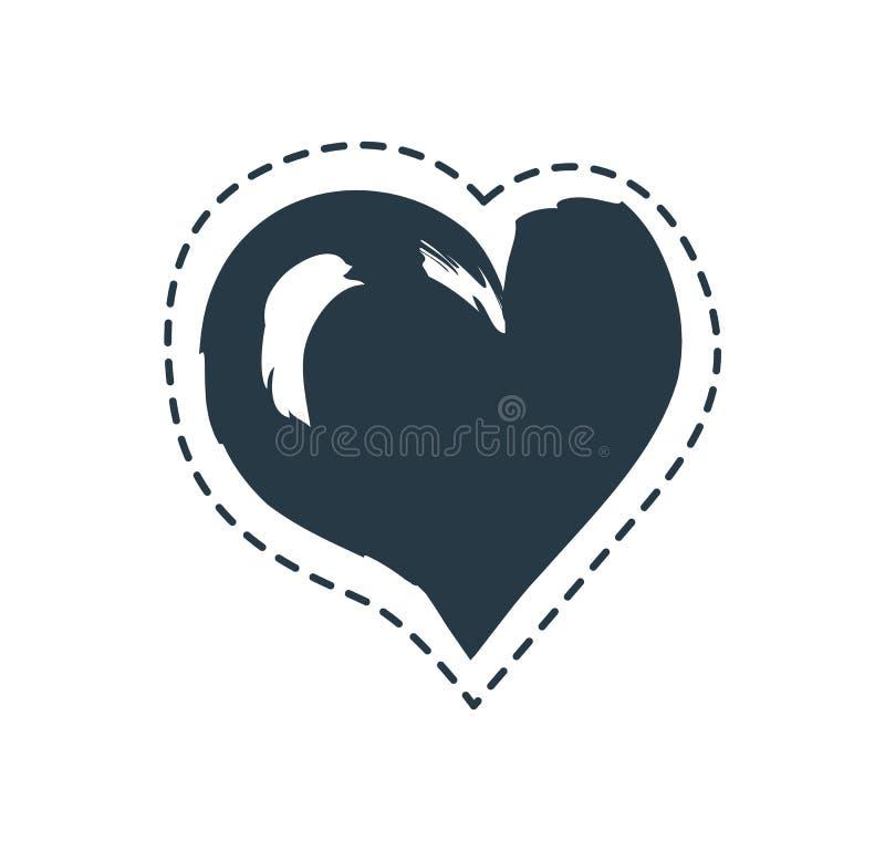 Asymmetrisch die Hart met Gestormde Lijnaffiche wordt gegrenst stock illustratie