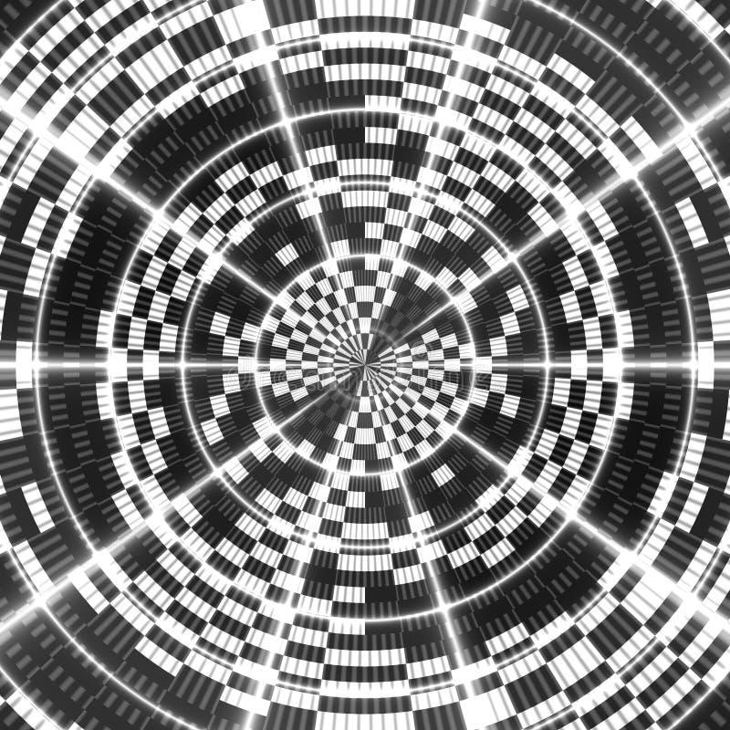 Asymmetrisk abstrakt svartvit kalejdoskopisk bakgrund stock illustrationer