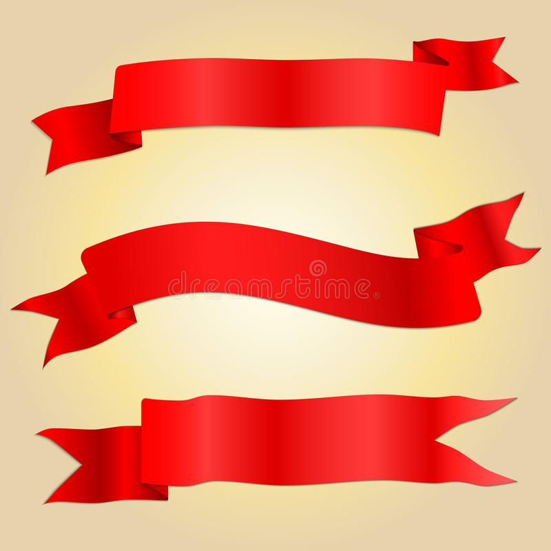 Free Asymmetry Red Ribbon Banner With Shading And Shadows Royalty Free Stock Images - 114381829